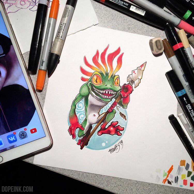 Эскиз татуировки ньюскул лягушка