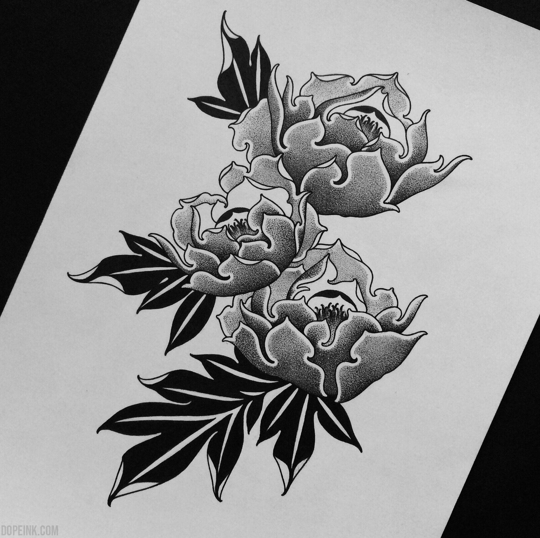 Эскиз татуировки с пионами