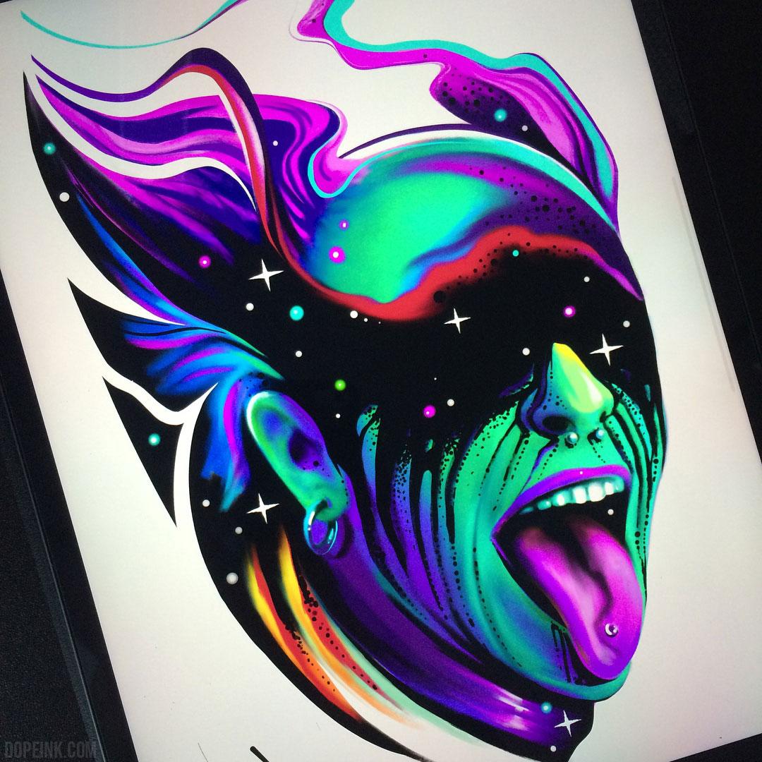 Эскиз татуировки акварель космос